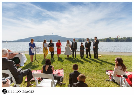 Canberra wedding ceremony nara park on the lake