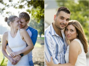 Two-couples-posing-during-a-Canberra-engagnement-session-at-a-park-near-the-lake