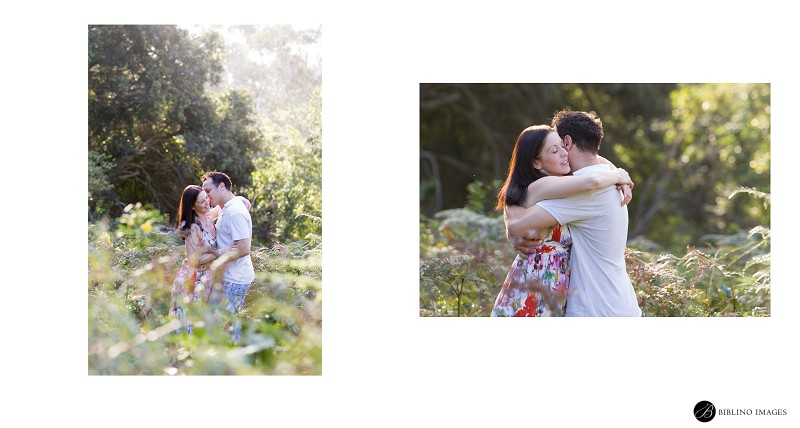 Engaged-couple-hugging-and-kissing-duirng-golden-hour