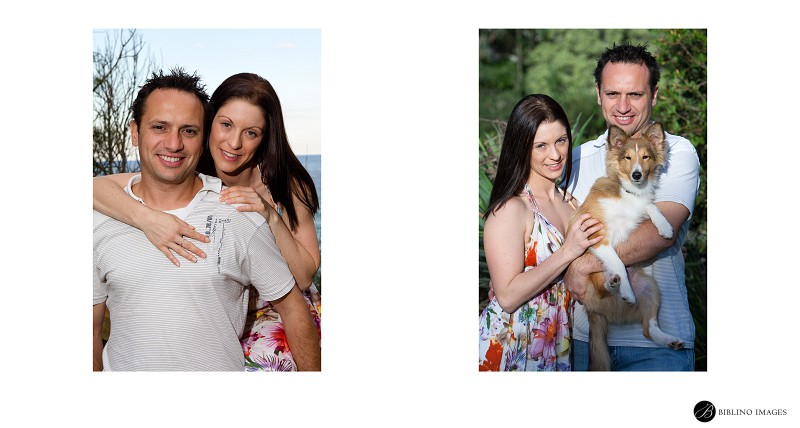 Engaged-couple-posing-with-their-dog