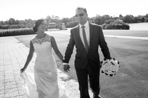 Bride and groom just married on there way to reception on their wedding day