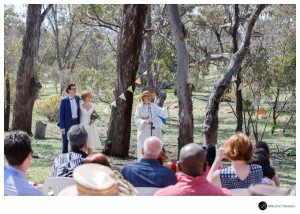 Frances & Owen outdoor wedding ceremony at Mount Ainslie