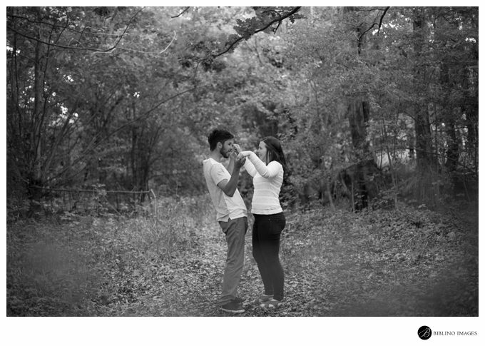 Black & white engagement photo