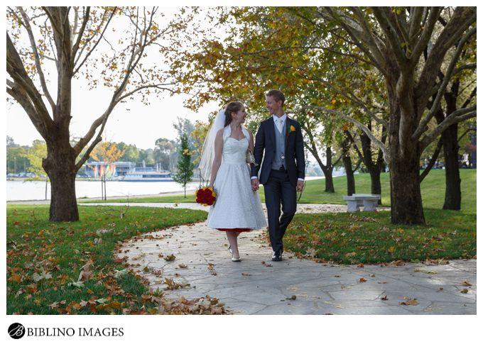 Bride groom take a walk after their wedding ceremony
