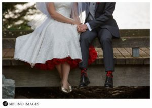 Photo of bride and groom at the Japanese peace gardens Canberra
