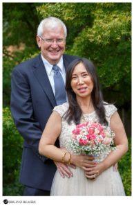 garden portraits of bride and groom