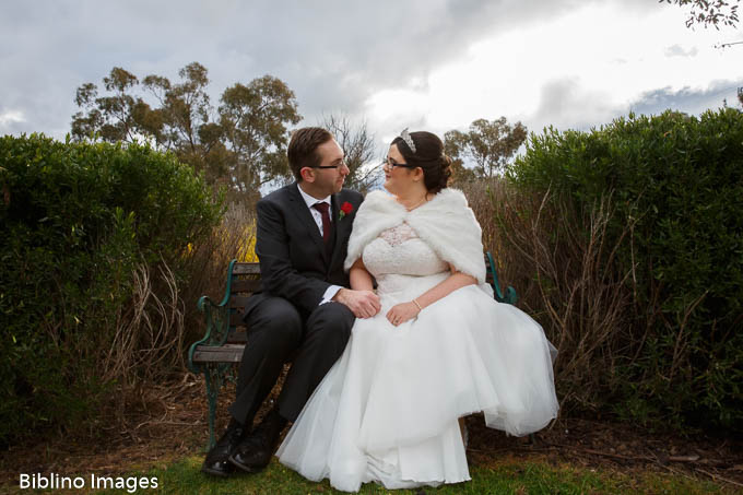 bride and groom photos on the lawn at Goolabri estate