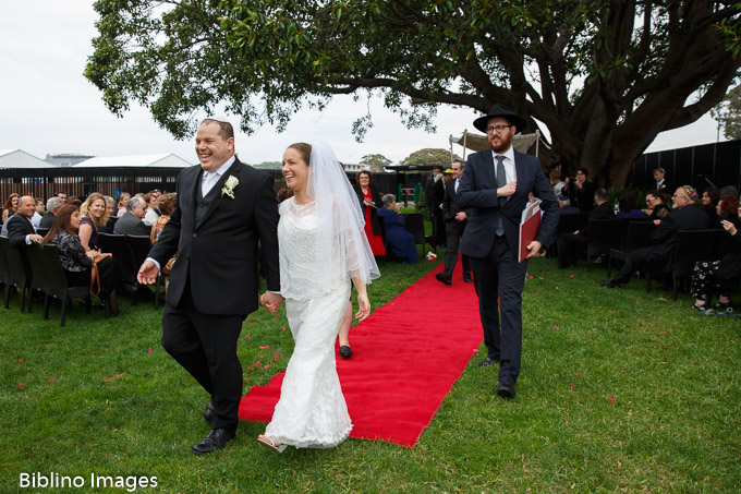 Bride and groom after the ceremony at Royal Randwick