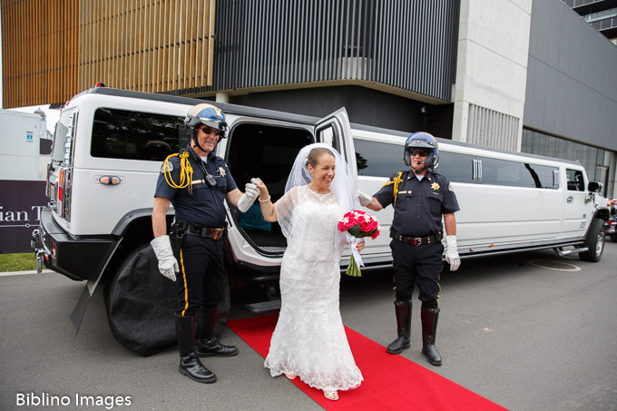 Bride arrives at the Australian turf club