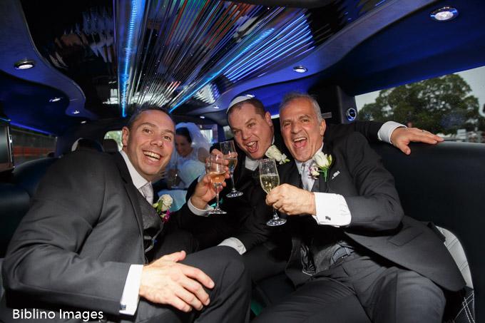 Groomsmen in limo