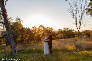 Bride groom sunset wedding photo in Canberra