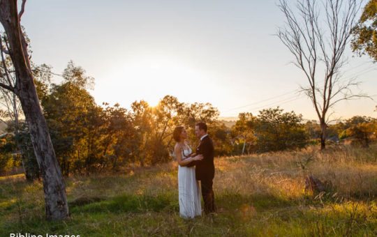 Bride groom sunset wedding photo in Canberra