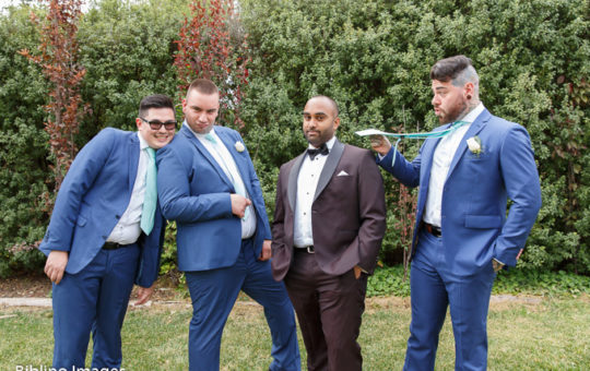 Groomsmen act up