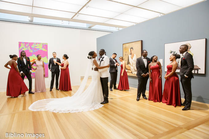 Bridal party portraits at portrait gallery of Australia